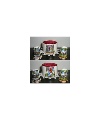Thimbles with a pin cushion 'Stained glass window'