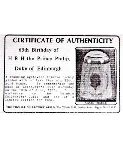 65th Birthday of Prince Philip - certyfikat