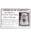 65th Birthday of Prince Philip - certificate