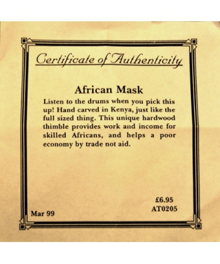 African mask - certificate