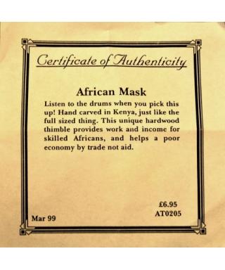 Afrykańska maska - certyfikat