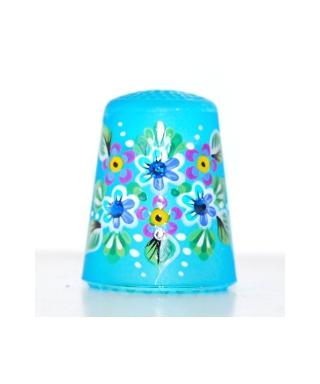 Niebieski szklany w kwiaty