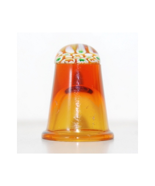 Amber glass millefiori thimble
