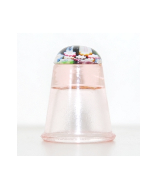 Pink glass millefiori thimble