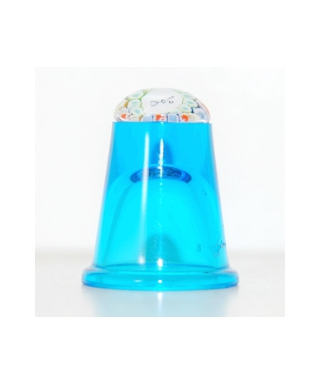 Turkusowy szklany naparstek millefiori