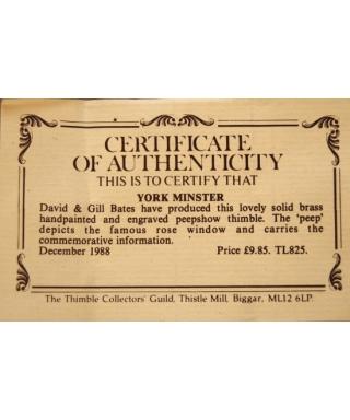 York Minster - certyfikat