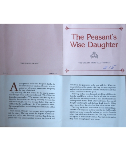 The Peasant's Wise Daughter - certificate