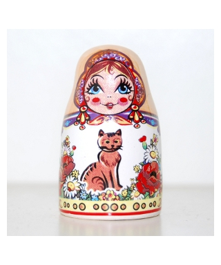 Ceramics doll with cats