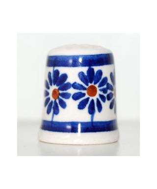 Duży Bolesławiec niebieskie kwiaty z dziurką