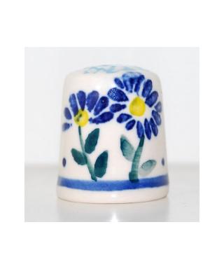 Duży Bolesławiec niebieskie kwiaty z dziurką II