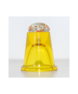 Yellow glass millefiori thimble
