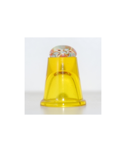 Yellow glass millefiori thimble