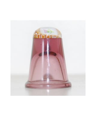 Heather glass millefiori thimble