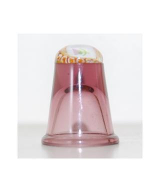 Wrzosowy szklany naparstek millefiori