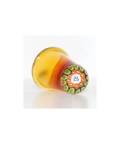 Amber glass millefiori thimble 25