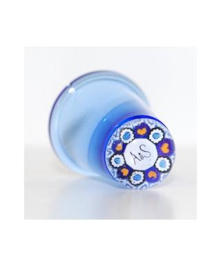 Niebieski szklany naparstek millefiori - Royal Wedding